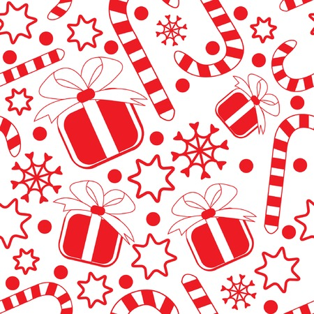 Seamless pattern with gifts, candy canes, snowflakes and stars. Vector illustration.