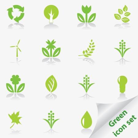 Green ecology icon set.  Illustration