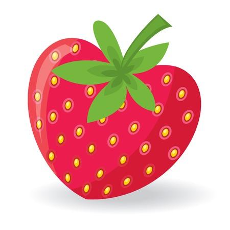 심장 모양의 딸기입니다. 벡터 일러스트 레이 션 일러스트