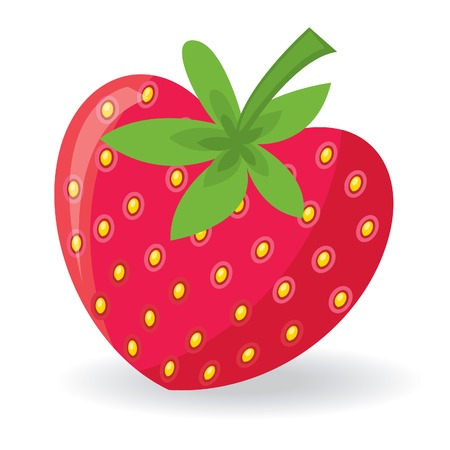Strawberry with shape of heart. Vector illustration Ilustração