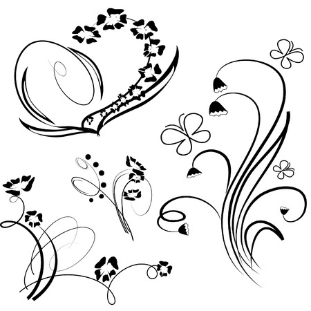 Collection of floral design element. Vector illustration