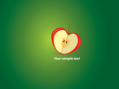 Valentine wallpaper with heart-shaped apple on green background. Vector illustration.