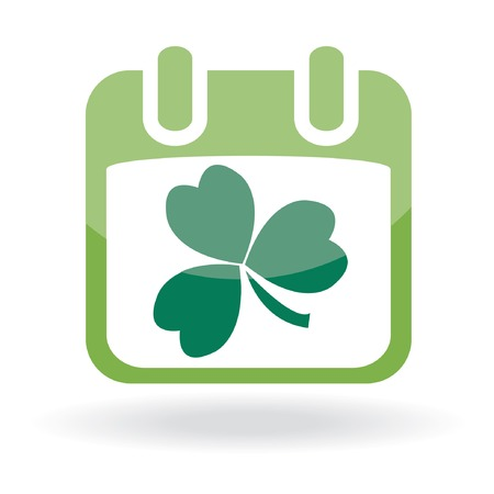 Calendar with clover leaf. St. Patrick's day icon. Stock Vector - 6531810