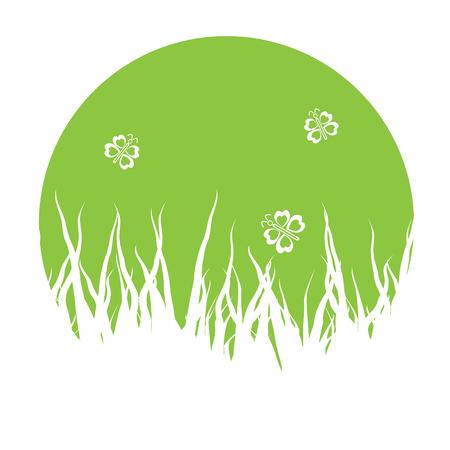grass silhouettes background with butterflies Stock Vector - 7361152