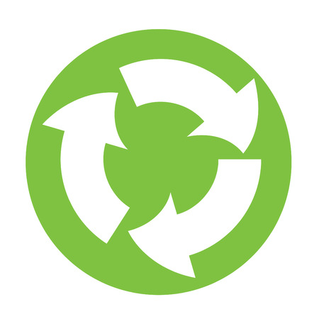recycle symbol in green circle