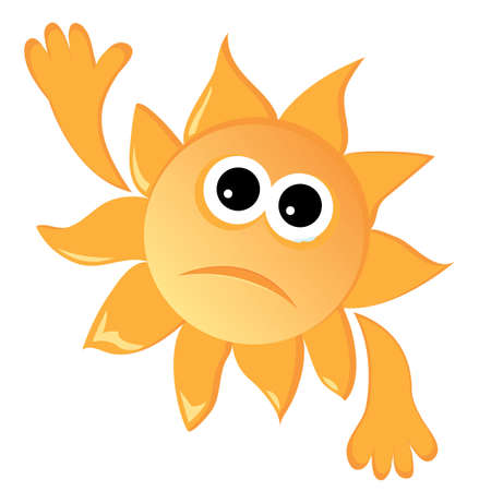 Cartoon sun in a sad mood.  illustration Illustration