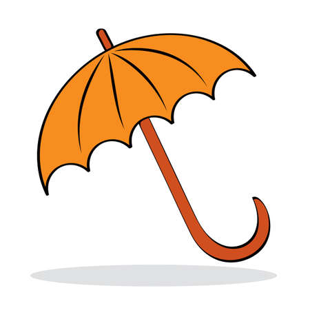 Orange umbrella with grey shadow. Autumnal icon.  illustration Stock Vector - 7593672