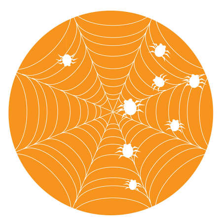 Orange halloween background with web and spiders.  illustration