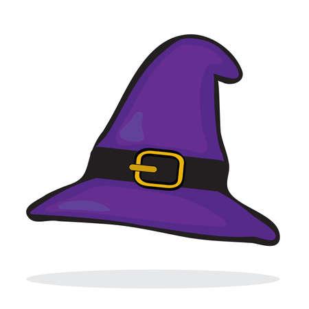 Purple witchs hat. Halloween icon. Vector illustration Vector