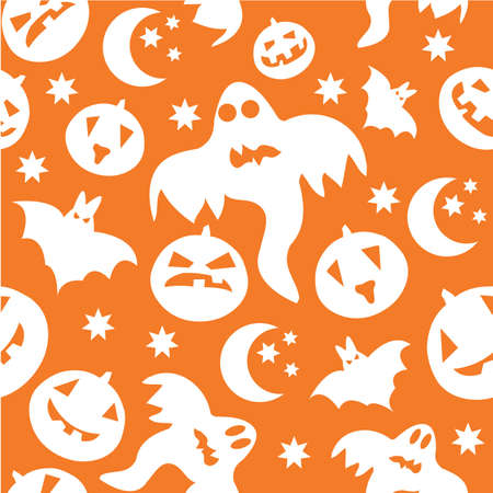 Seamless halloween background with ghosts, bats, pumpkins and stars Vector