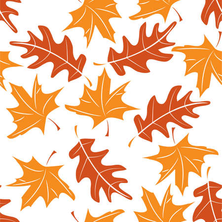 Seamless autumnal pattern with maple and oak leaves. illustration Vector