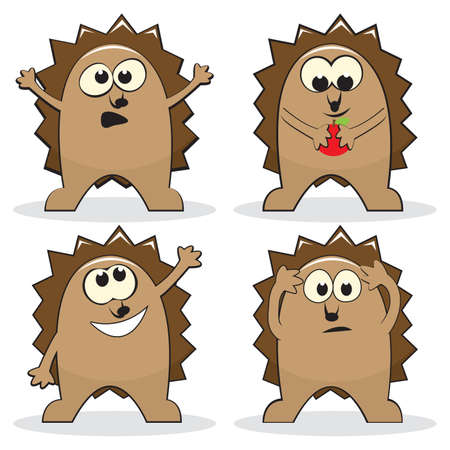 Set of four cartoon hedgehogs.   illustration Vector
