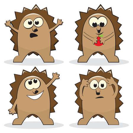 Set of four cartoon hedgehogs.   illustration Vector