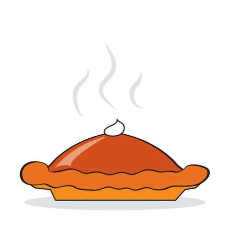 추수 감사절에 대 한 뜨거운 호박 파이입니다. 삽화