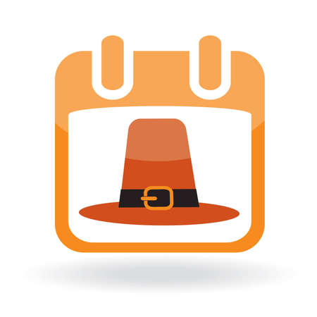 Calendar icon with pilgrim hat.  illustration Vector