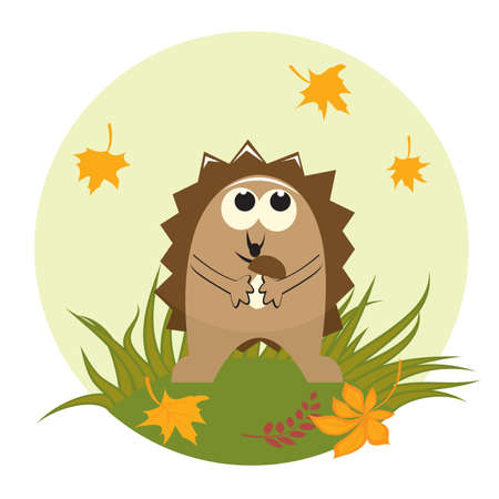 Cute little hedgehog with mushroom.  illustration Vector