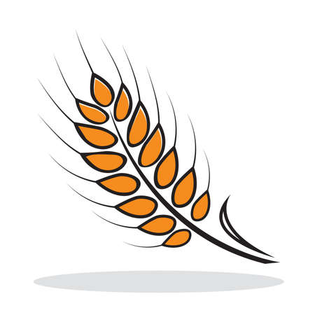 Orange abstract wheat with grey shadow. Autumnal icon. illustration Illustration