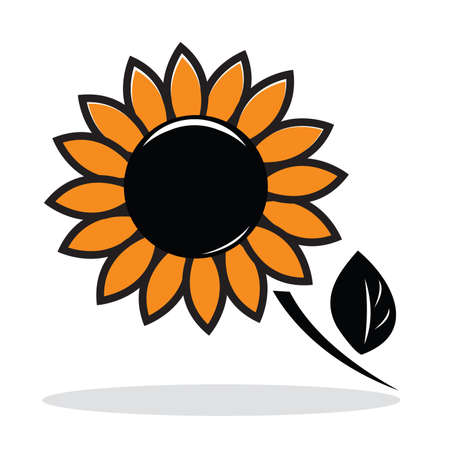Orange abstract sunflower with grey shadow. Autumnal icon. illustration