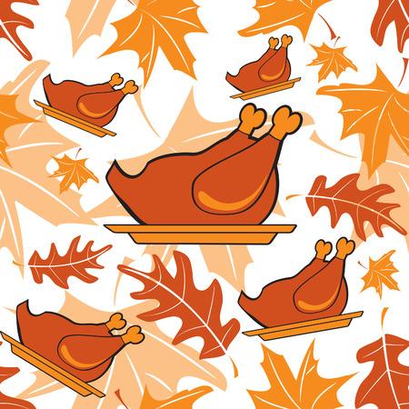 Autumnal seamless pattern with turkeys Stock Vector - 8261412