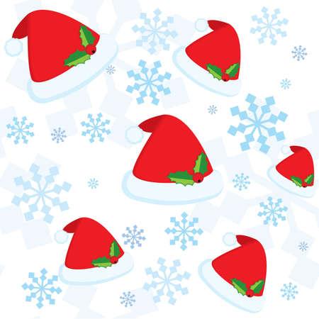 winterberry: Christmas seamless pattern with snowflakes Santas cap
