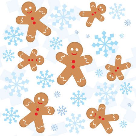 Christmas seamless pattern with snowflakes and gingerbread men