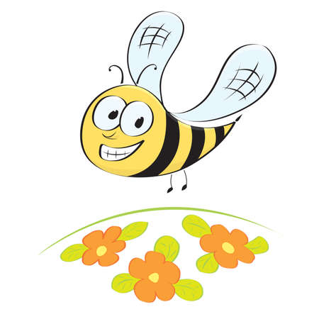 Cute little cartoon bee flying over flower meadow Vector