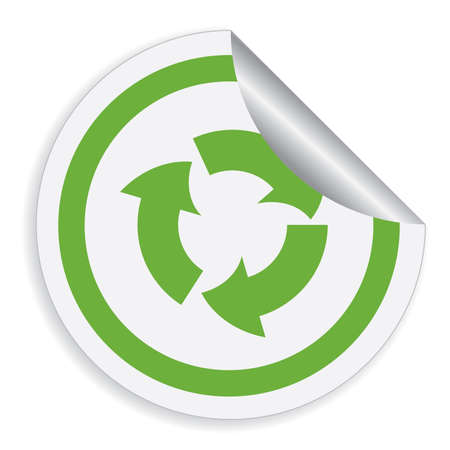 recycle symbol vector: Eco label with recycle symbol. Vector illustration.