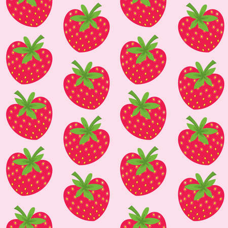 Seamless pattern with strawberries on pink background. Vector illustration