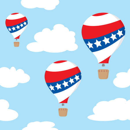 Seamless pattern with patriotic hot air balloons on the blue sky. Vector illustration Vector
