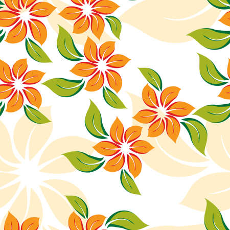 추상 오렌지 꽃과 원활한 플로랄 패턴입니다. 벡터 일러스트 레이 션