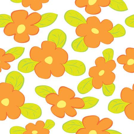오렌지 꽃과 원활한 플로랄 패턴입니다. 벡터 일러스트 레이 션.