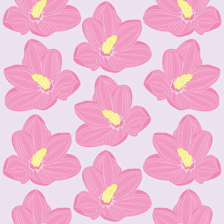 Seamless floral pattern with pink flowers. Vector illustration Vector
