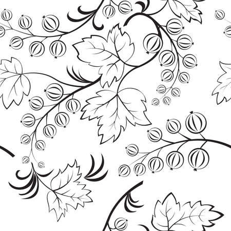 Black-and-white seamless with abstract currants. Vector illustration Ilustração