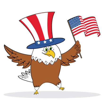 Cartoon patriotic eagle holding american flag. Vector illustration
