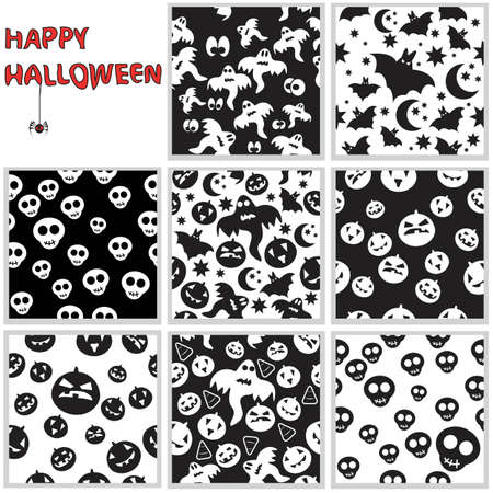 Collection of halloween seamless patterns.