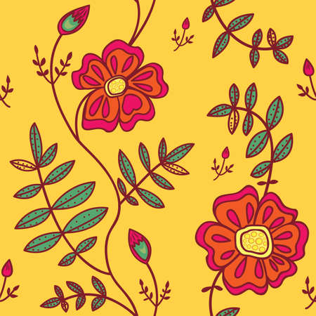 Seamless pattern with color flowers on orange background Vector