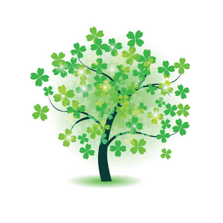 clover leaf shape: Clover tree for st  Patrick s day Illustration