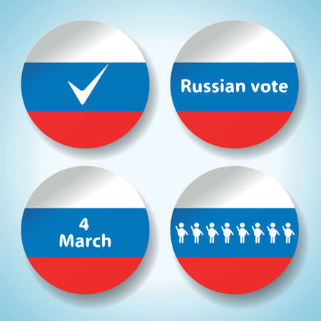 presidential election: Set of russian presidential election stickers