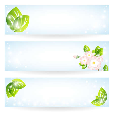 Set of banners with green leaves and flowers Vector