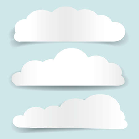 Set of cloud-shaped paper banners Illustration