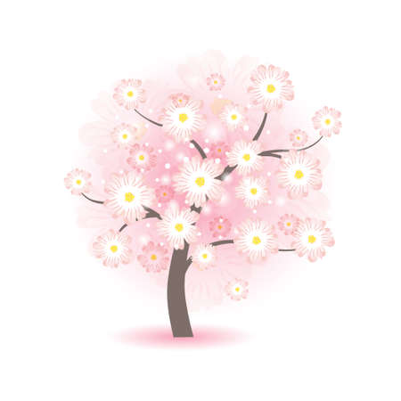 Abstract beautiful blossom tree with pink flowers Vector