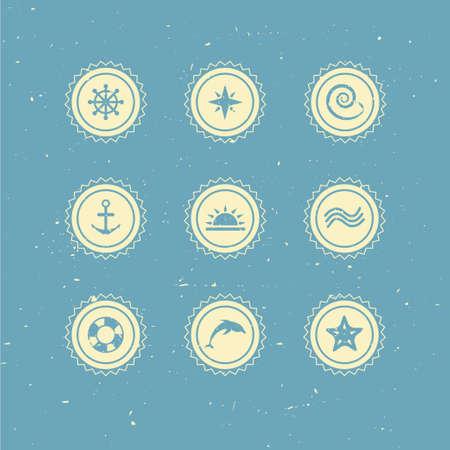 복고풍 해양 아이콘의 세트 일러스트