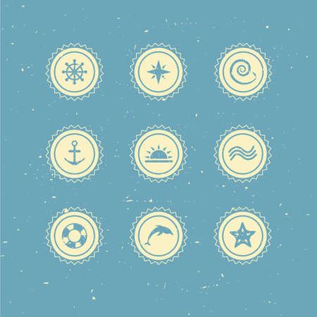 Set of retro marine icons