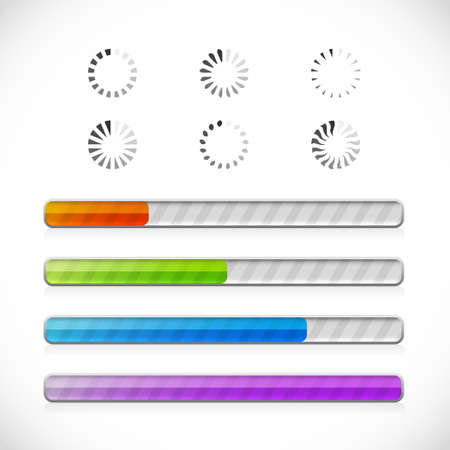 Collection of preloaders and progress loading bars Stock Vector - 12945651