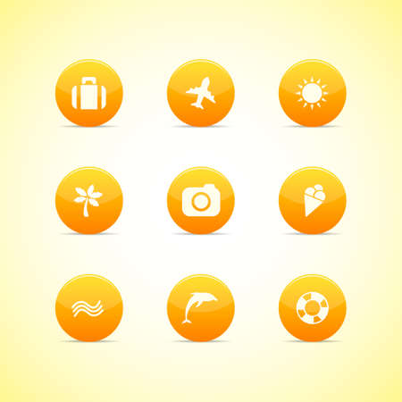 Set of orange icons  holiday theme Vector