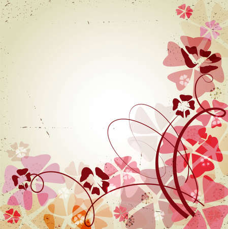 Retro background with color flowers Vector