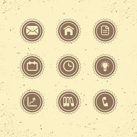 contact icon: Set of retro icons  business theme