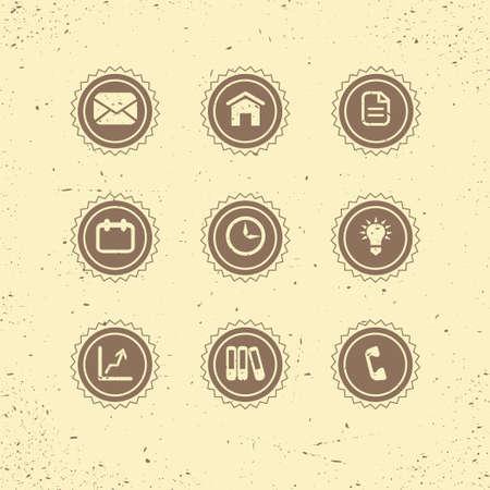 icon contact: Set of retro icons  business theme