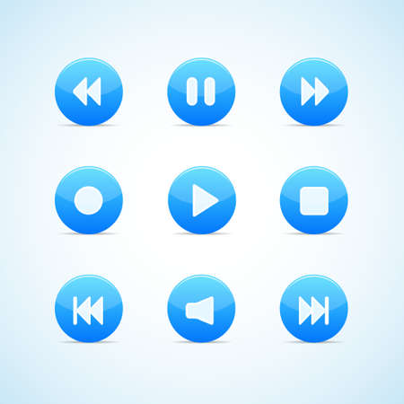 Set of round blue media player buttons Stock Vector - 13053914
