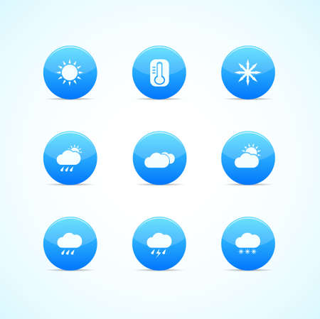 Set of blue glossy weather icons Vector